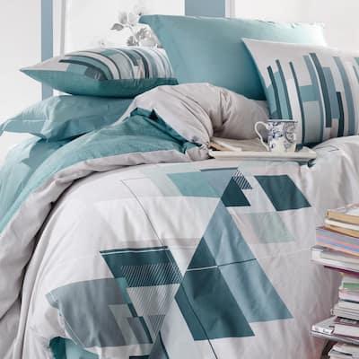 Light Gray Cubes Duvet Cover Set : Teal, Queen Size Duvet Cover, 1 Duvet Cover, 1 Fitted Sheet and 2 Pillowcases