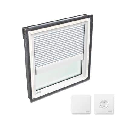 22-1/2 in. x 22-15/16 in. Fixed Deck Mount Skylight w/ Laminated Low-E3 Glass & White Solar Powered Room Darkening Blind