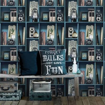 Curiosity Biblio Blue Wallpaper Sample