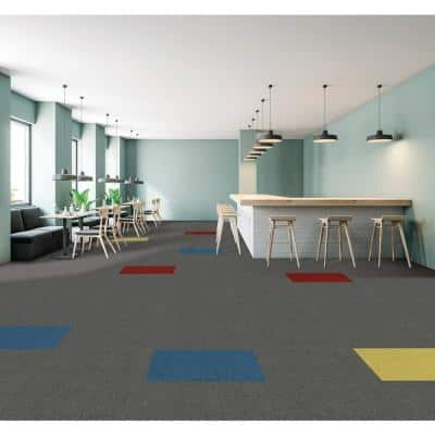 Peel and Stick Color Accents Platinum 24 in. x 24 in. Residential Carpet Tile (8-tile / case)