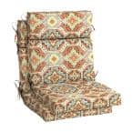 21.5 in. x 24 in. Russet Geo Outdoor High Back Dining Chair Cushion (2-Pack)