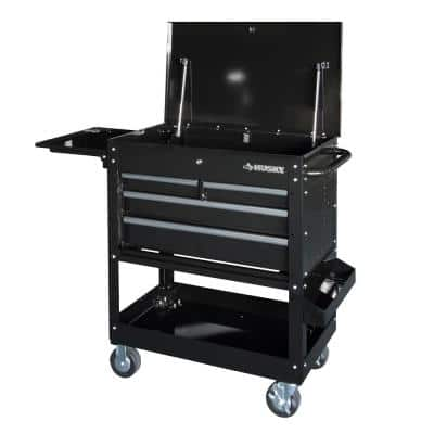 33 in 4-Drawer Mechanics Cart with Extended Side Table and Bottle Tray