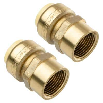 3/4 in. Push-Fit x 3/4 in. NPT Female Pipe Thread Brass Coupling (2-Pack)