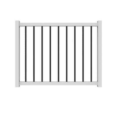 36 in. to 48 in. Traditional White Poly-Composite Rail Gate Kit with Metal Balusters