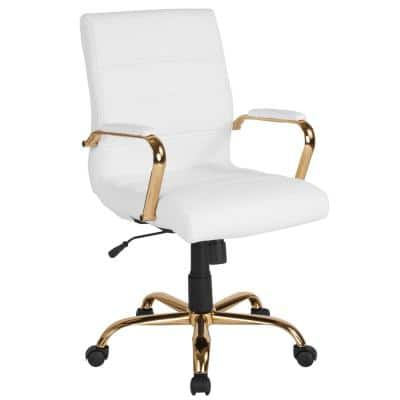 23 in. Width Standard White Leather/Gold Frame Faux Leather Task Chair