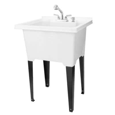 25 in. x 21.5 in. ABS Plastic Freestanding Utility Sink in White - Chrome Sprayer Pull-Out Faucet, Soap Dispenser