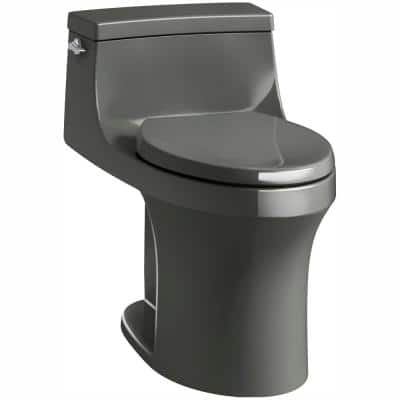 San Souci 1-Piece 1.28 GPF Single Flush Elongated Toilet in Thunder Grey, Seat Included