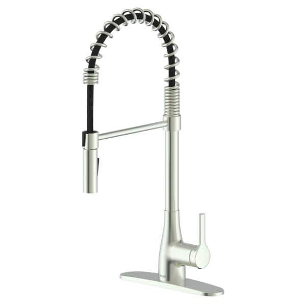 FLOW Classic Series Single-Handle Pull-Down Spring Neck Sprayer Kitchen Faucet in Brushed Nickel   The Home Depot