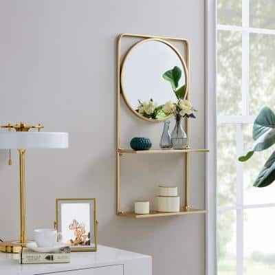 Gold Pharmacy Mirror with Shelves