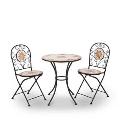 Indoor/Outdoor 3-Piece Mosaic Bistro Set Folding Table and Chairs Patio Seating, Tan