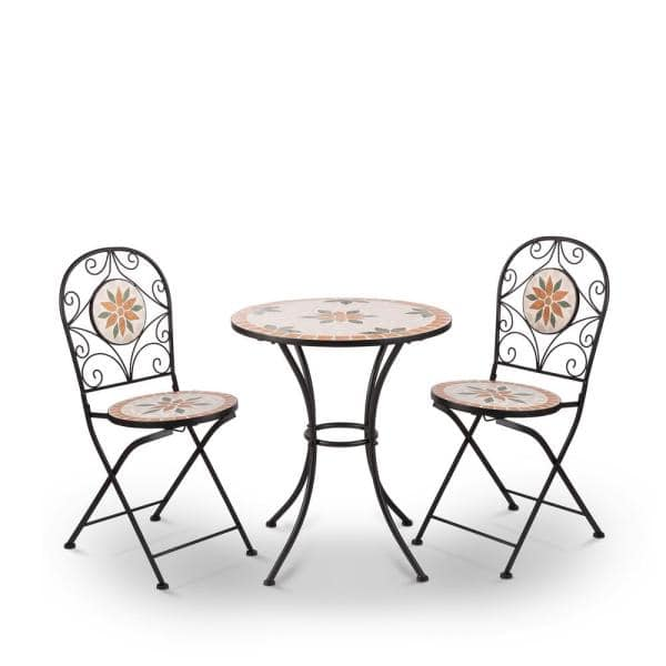 Alpine Corporation Indoor Outdoor 3 Piece Mosaic Bistro Set Folding Table And Chairs Patio Seating Tan Jfh918a The Home Depot