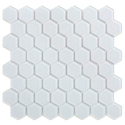 Take Home Sample Sea Breeze White 4 in. x 4 in. Glass Peel and Stick Wall Mosaic Tile (0.11 sq.ft/Each)