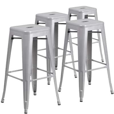 Stackable Metal Outdoor Bar Stool (4-Pack)