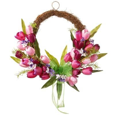 20 in. Pink and Burgundy Tulip Twig Wreath