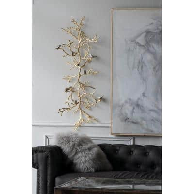 4 in. Onward Branch Gold Candle Holder