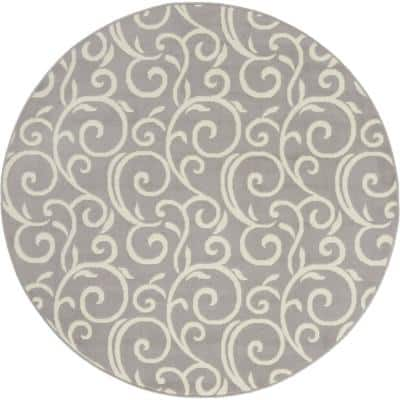 Grafix Grey Abstract Botanical Vines 5 ft. x 5 ft. Round Area Rug