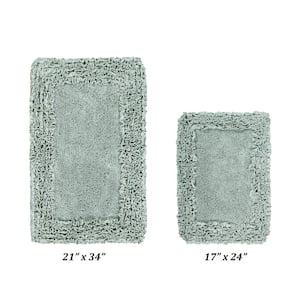 Shaggy Border Collection 2 Piece Sage 100% Cotton Bath Rug Set - (17'' x 24'' : 21'' x 34'')