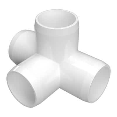 1 in. Furniture Grade PVC 4-Way Tee in White (4-Pack)
