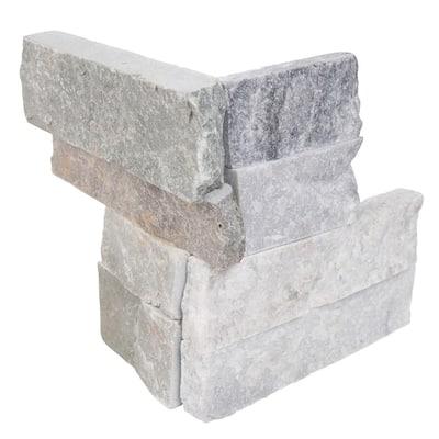 Alaska Gray Ledger Corner 6 in. x 6 in. x 6 in. Natural Marble Wall Tile (2.5 sq. ft. /Case)