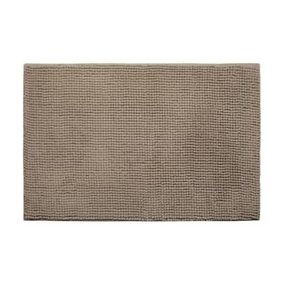 Plush Chenille Linen 17 in. x 24 in. Memory Foam Bath Mat