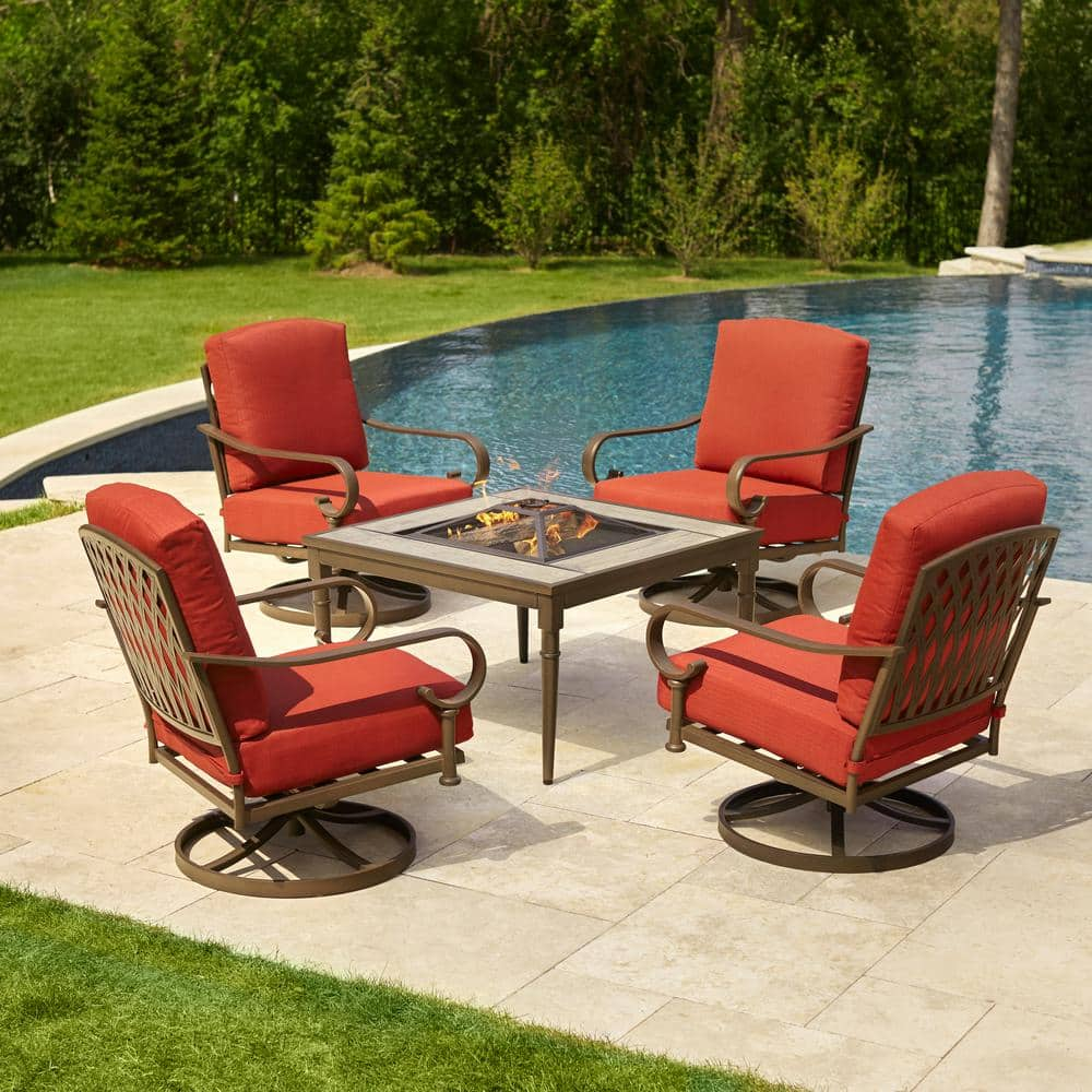 Hampton Bay Oak Cliff 5 Piece Metal Patio Fire Pit Conversation Set With Chili Cushions 176 411 5fp V2 The Home Depot