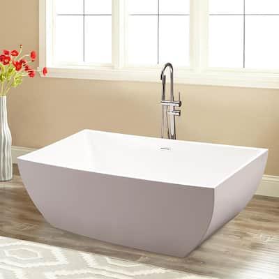 Montpellier 59 in. Acrylic Flatbottom Freestanding Bathtub in White