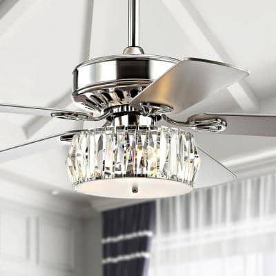 Mandy 52 in. Chrome 3-Light Crystal Prism Drum LED Ceiling Fan with Light and Remote