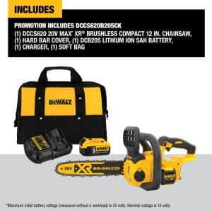 12 in. 20V MAX Cordless Brushless Chainsaw (Tool Only) with Bonus 20V MAX Starter Kit Included