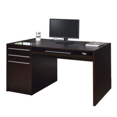 30 in. Rectangular Brown 3 Drawer Computer Desk with Keyboard Tray