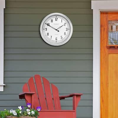 16 in. Indoor/Outdoor Silver Quartz Analog Wall Clock