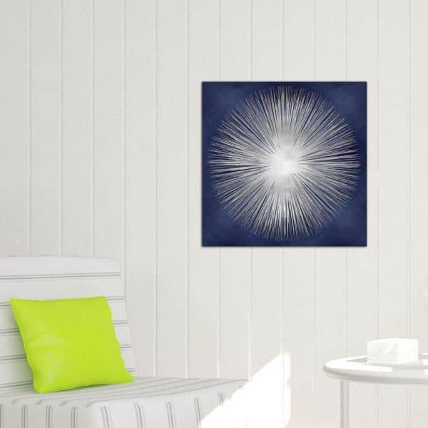 Icanvas Silver Sunburst On Blue I By Abby Young Wall Art Abb12 1pc3 26x2 The Home Depot