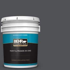 Behr Premium Plus 1 Gal Ppu24 23 Little Black Dress Satin Enamel Exterior Paint And Primer In One 934001 The Home Depot
