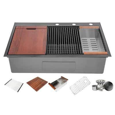 Ariel 16-Gauge Nano Black Stainless Steel 36 in. Single Bowl Drop-In Workstation Kitchen Sink with Accessories
