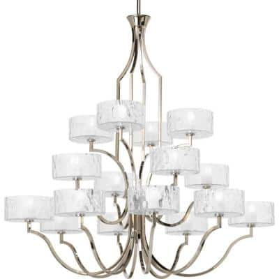 Caress Collection 16-Light Polished Nickel Clear Water Glass Luxe Chandelier Light