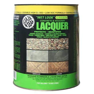 5 Gal. Clear Wet Look Green Concrete and Masonry Lacquer Waterproofer and Sealer