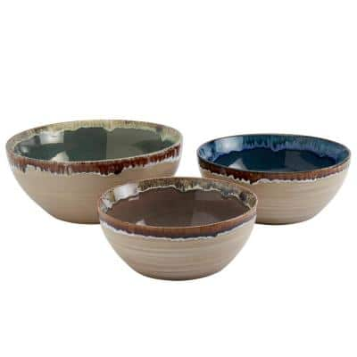 10.4 in. 122 oz. Solid Multi-Colored Stoneware Serving Bowls (Set of 3)