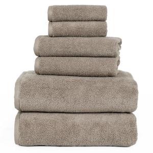 6-Piece Solid Taupe 100% Cotton Bath Towel Set