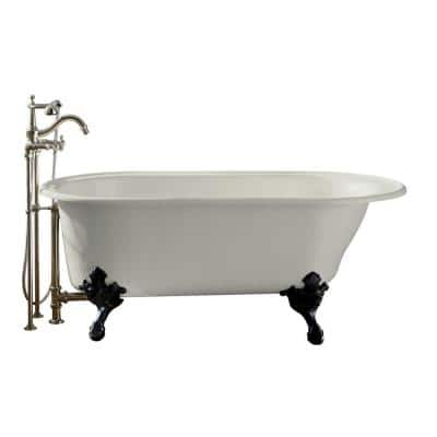 Iron Works Historic 66 in. x 36 in. Cast Iron Freestanding Oval Bathtub in White