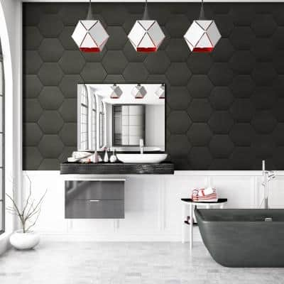 Glassel Nero Hexagon 9 in. x 10.5 in. Matte Porcelain Floor and Wall Tile ( 6.89 sq. ft./Case)