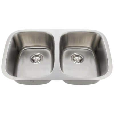 Undermount Stainless Steel 29 in. Double Bowl Kitchen Sink