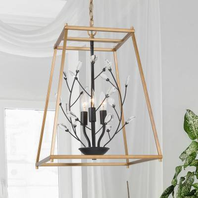 Caria Modern Farmhouse Chandelier 3-Light Black Gold Candlestick Cage Chandelier Pendant Light with Crystal Accents