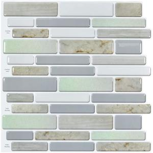Staggered Colorful 12 in. W x 12 in. H Vinyl Peel and Stick Tile Mosaic Wall Tile Backsplash (10 sq. ft./Pack)