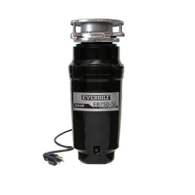 3/4 HP Slim Continuous Feed Garbage Disposal with Stainless Steel Sink Flange and Attached Power Cord