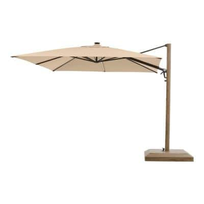 10 ft. Aluminum and Steel Cantilever LED Outdoor Patio Umbrella in Sunbrella Antique Beige with Metal Covered Base