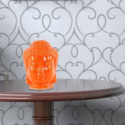 Orange Ceramic Buddha Head with Beaded Ushnisha