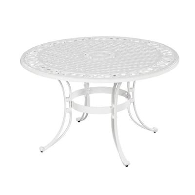 Sanibel White 48 in. Round Cast Aluminum Outdoor Dining Table