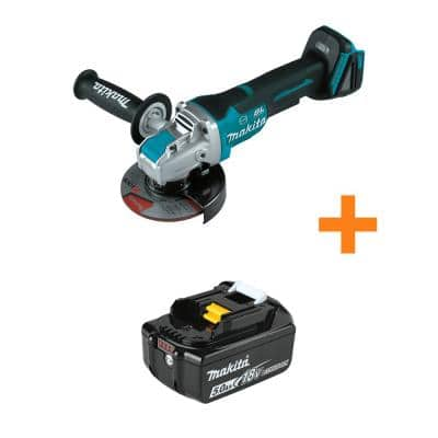18-Volt LXT Brushless Cordless 4-1/2 in. / 5 in. Paddle Switch X-LOCK Angle Grinder with Bonus 18-Volt 5.0Ah LXT Battery