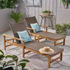 Hampton Grey Wicker and Natural Stained Wood Outdoor Chaise Lounges (Set of 2)