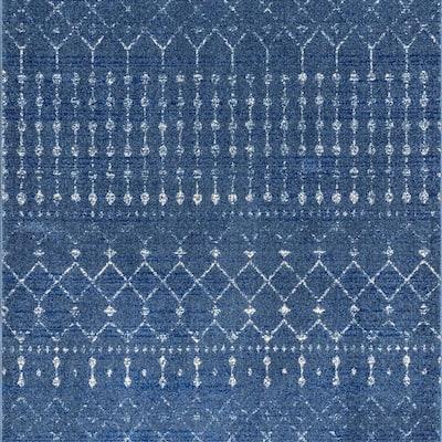 Blythe Modern Moroccan Trellis Dark Blue 6 ft. Square Rug