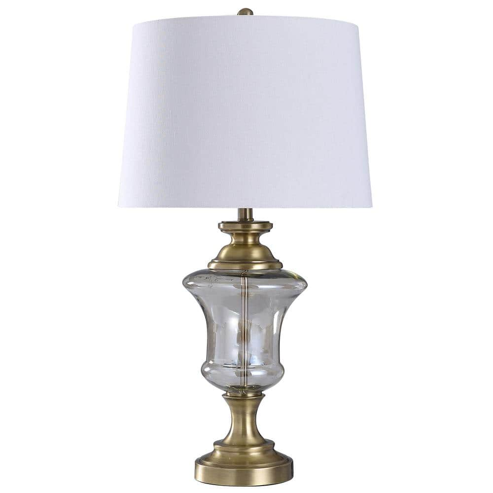 Stylecraft 32 In Antique Brass Table Lamp With Smoke Glass Shade L317852ds The Home Depot